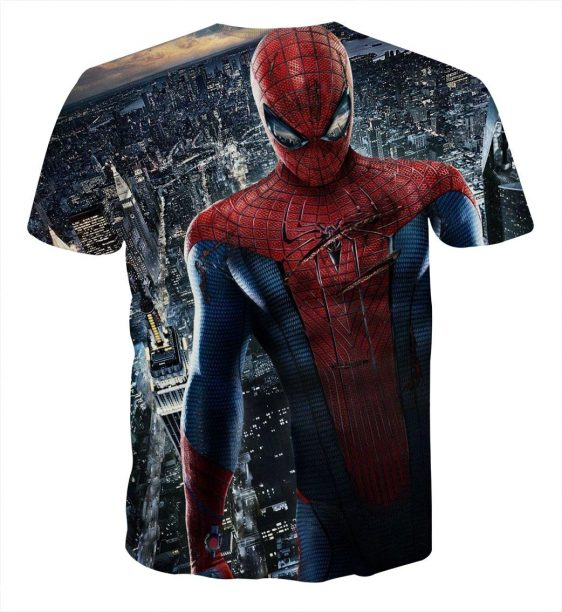 The Fierce Spider-Man In City View Design Full Print T-Shirt
