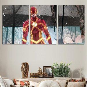 The Flash Comic Style Art Design 3pcs Wall Art Canvas Print