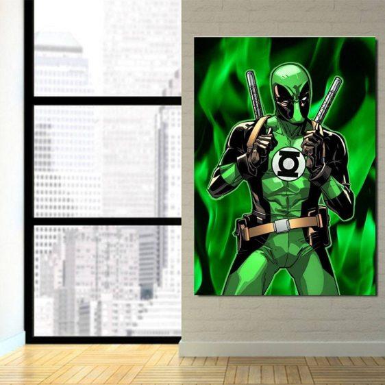 The Green Superhero Deadpool Dark Portrait 1pcs Canvas Print