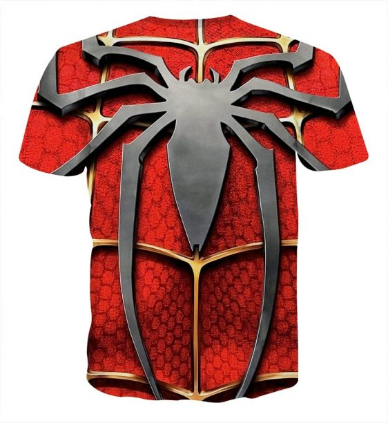 The Itsy Bitsy Spider Design Full Print Red T-Shirt