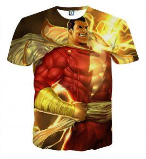 The Legendary Captain Marvel Shazam Red Suit Print T-Shirt