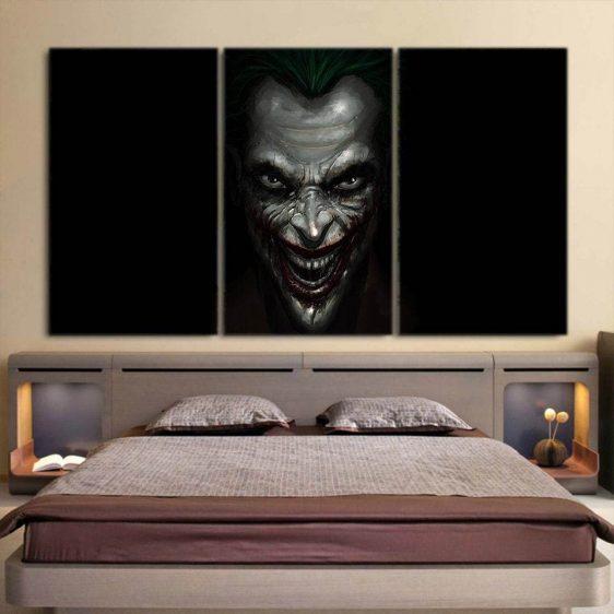 The Mad Badass Joker Black Design 3pcs Wall Art Canvas Print