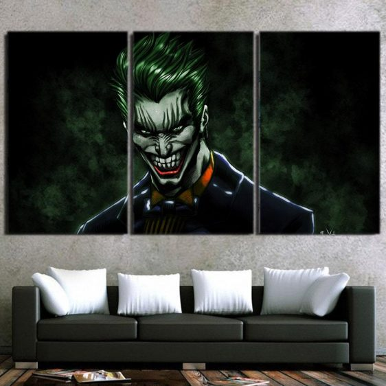 The Mad Evil Face Of Joker Design 3pcs Wall Art Canvas Print