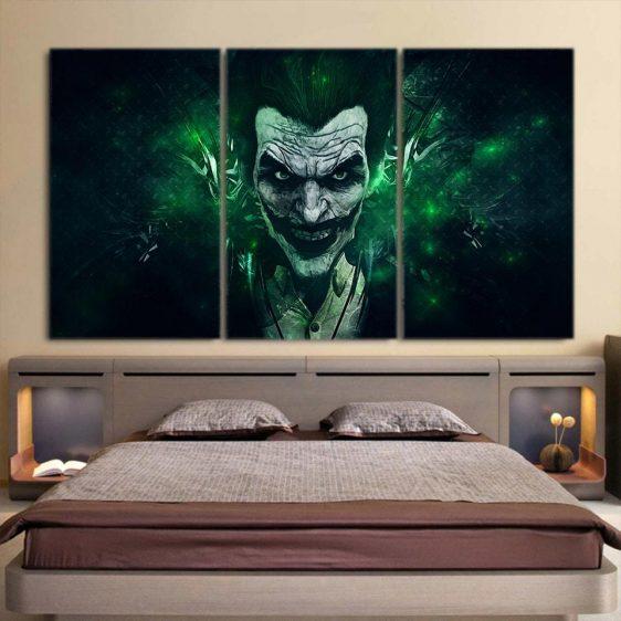 The Mischievous Brutal Joker 3pcs Wall Art Canvas Print