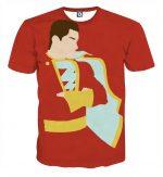 The Momentous Captain Marvel Shazam Blue Full Print T-Shirt