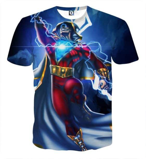The Overpowering Captain Marvel Shazam Blue Print T-Shirt