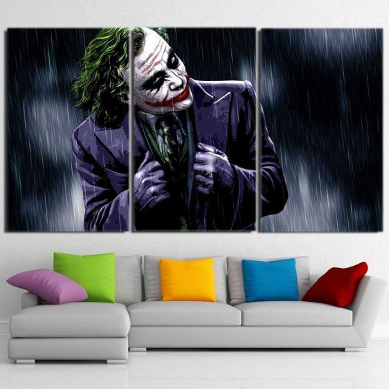 The Psychopathic Killer Joker 3pcs Wall Art Canvas Print