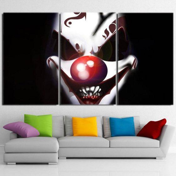 The Smile Of Insane Clown Joker 3pcs Wall Art Canvas Print