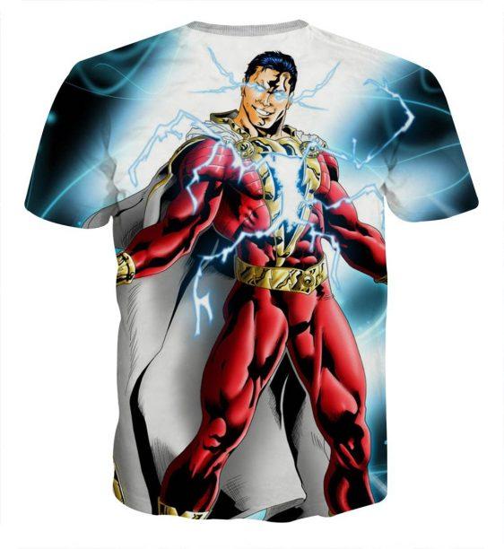 The Strong Captain Marvel Shazam Eye Lightning Print T-Shirt