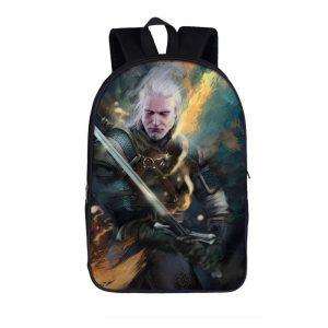 The Witcher 3 Wild Hunt Geralt Sword Fighting Art Backpack Bag