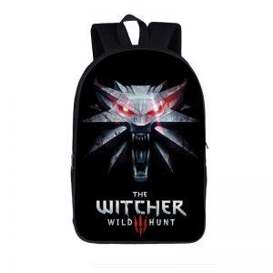 The Witcher 3 Wild Hunt Roaring Wolf Symbol Black Backpack Bag