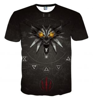 The Witcher 3 Wolf With Flaming Eyes Symbols Black T-Shirt