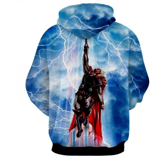 Thor Avengers Flying Comic Style With Mjolnir Sky Hoodie