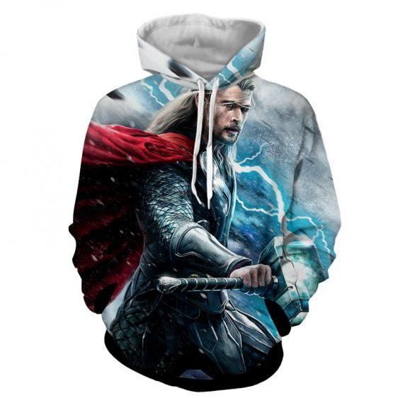 Thor Avengers Marvel Holding Mjolnir Thunder Cool Hoodie
