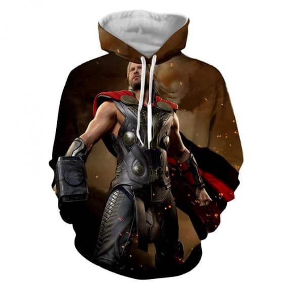 Thor Avengers Super Cool Style Real Standing Mjolnir Hoodie