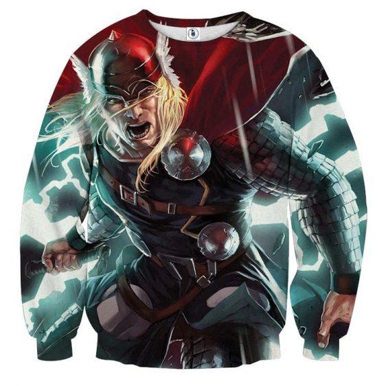 Thor Big Cartoon Super Angry On Fight Impressive Sweatshirt