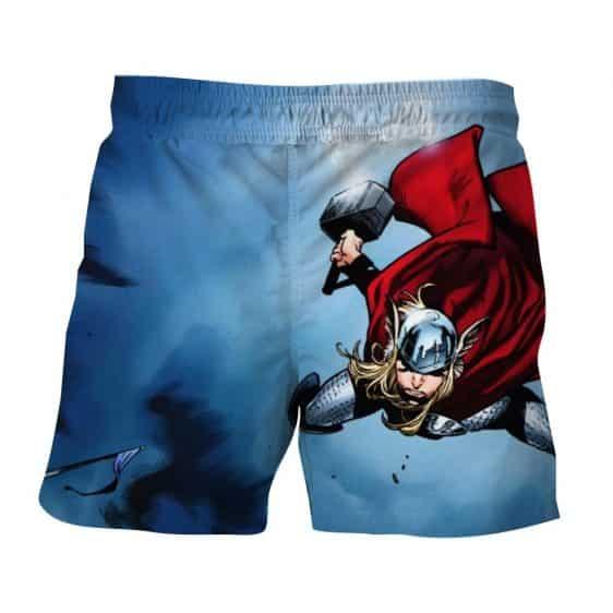 Thor Cartoon Flying Holding Hammer On Fight Amazing Board Shorts