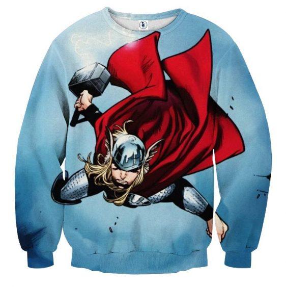 Thor Cartoon Flying Holding Hammer On Fight Amazing Sweatshirt