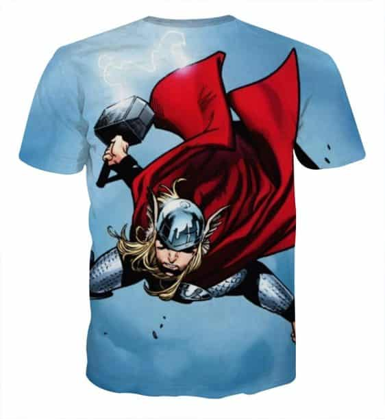 Thor Cartoon Flying Holding Hammer On Fight Amazing T-shirt