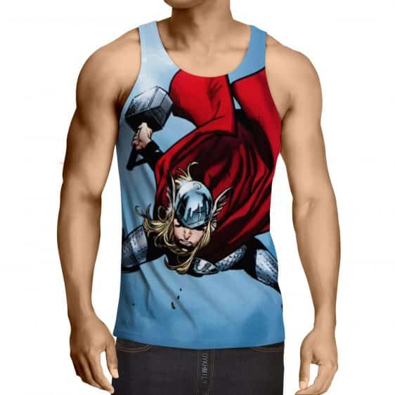Thor Cartoon Flying Holding Hammer On Fight Amazing Tank Top