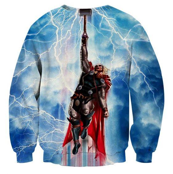 Thor Cartoon Flying Holding Hammer Super Amazing Sweatshirt