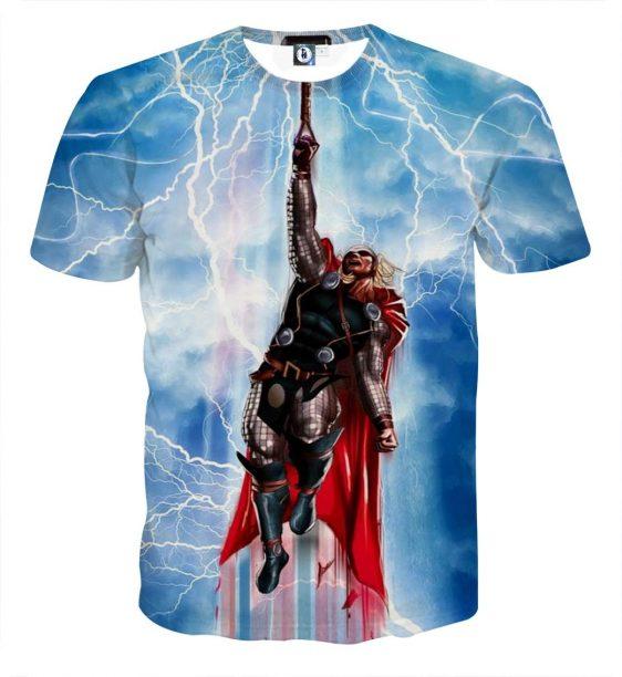 Thor Cartoon Flying Holding Hammer Super Amazing T-shirt