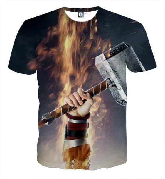 Thor Cartoon Hand Holding Hammer On Fight Amazing T-shirt