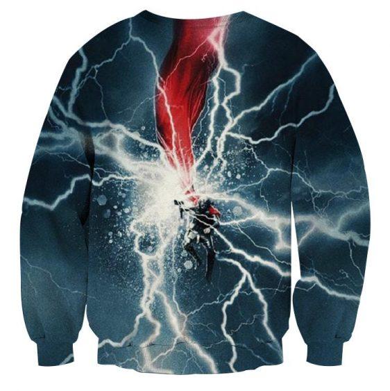 Thor Cartoon On Fight Magical Thunder Hammer Amazing Sweatshirt