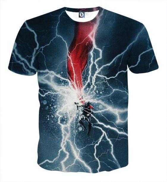 Thor Cartoon On Fight Magical Thunder Hammer Amazing T-shirt