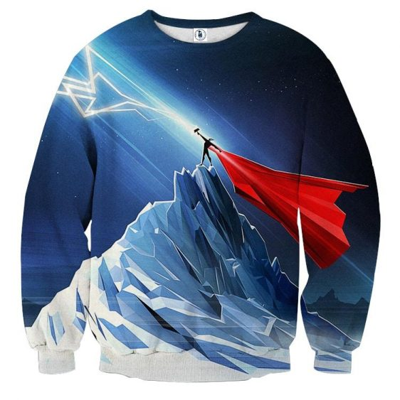 Thor Get Power From Hammer Standing Mountain Cool Sweatshirt