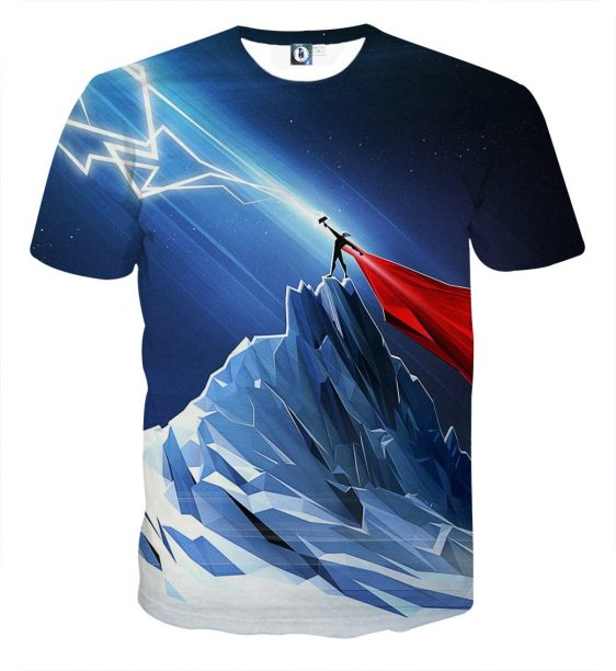 Thor Get Power From Hammer Standing Mountain Cool T-shirt