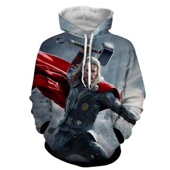 Thor Marvel Angry Face Fighting Mjolnir Impressive Hoodie