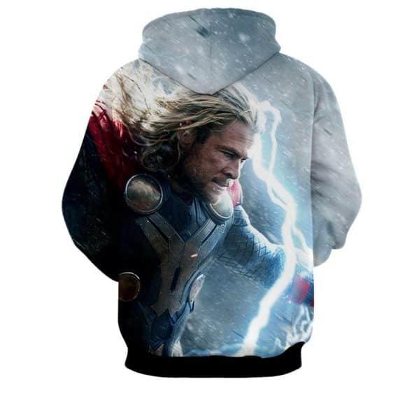 Thor Marvel Angry Fighting Mjolnir Lighting Portrait Hoodie