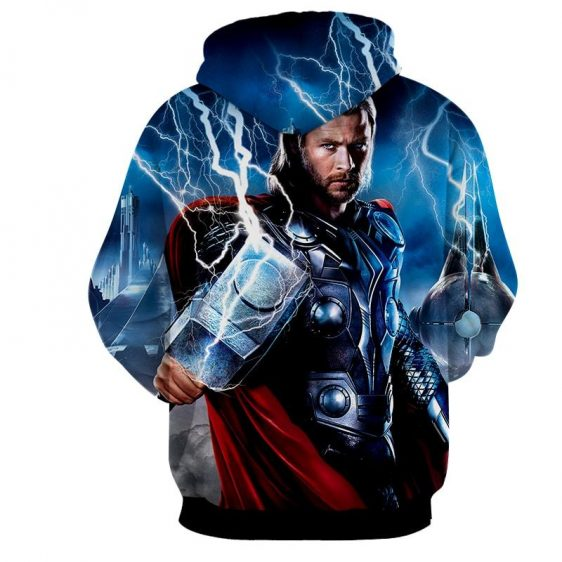 Thor Marvel Angry Holding Mjolnir Hammer Portrait Hoodie