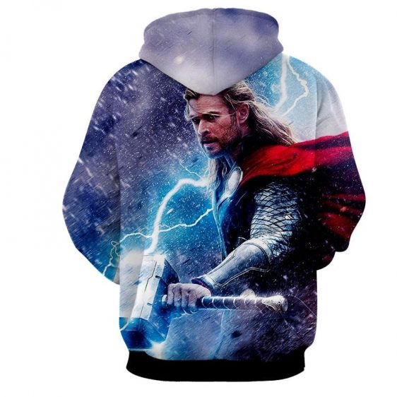 Thor Marvel Angry Mjolnir Fighting In Snowy Cool Hoodie