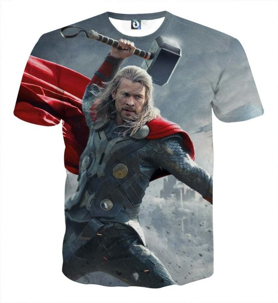 Thor Real Angry On Fight Thunder Hammer Impressive T-shirt