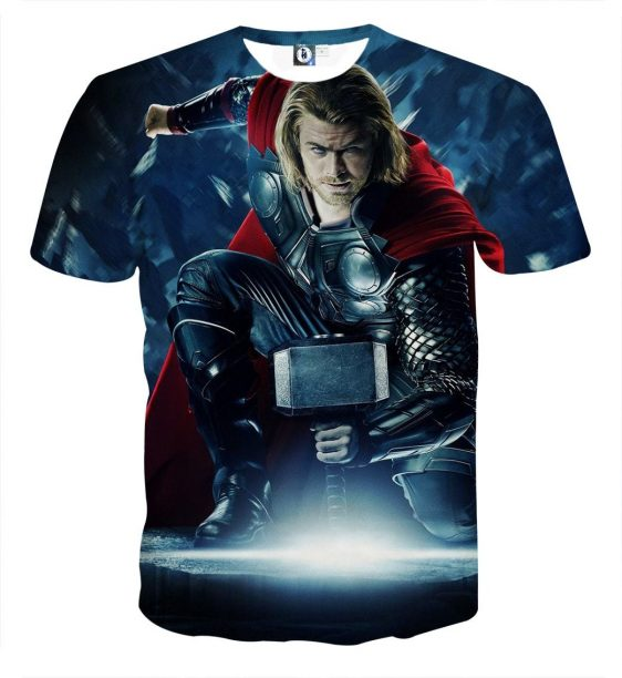 Thor Real Big Getting Power From Hammer Super Cool T-shirt