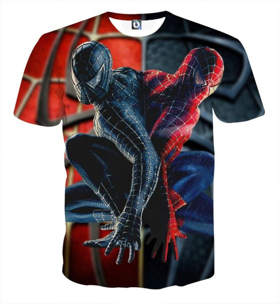 Two Back To Back Spider-Man Design Full Print T-Shirt