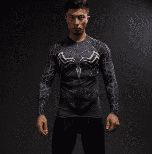 Marvel Venom Suit Long Sleeves Cosplay Compression 3D Shirt