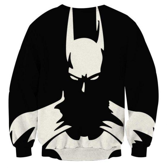 White Batman Superhero Thug Print On Black Sweatshirt