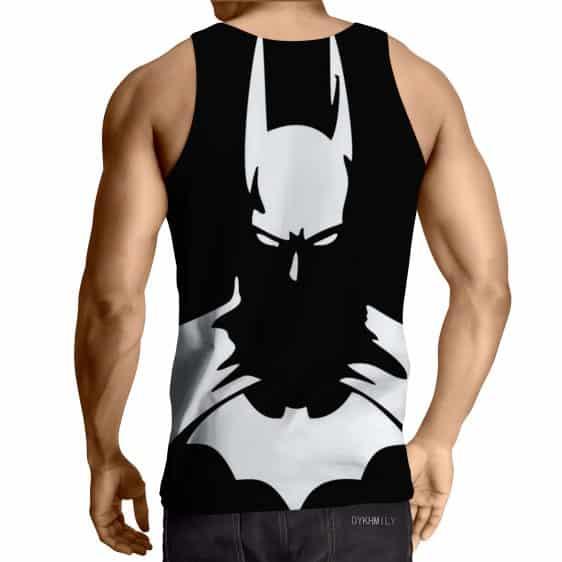 White Batman Superhero Thug Print On Black Tank Top
