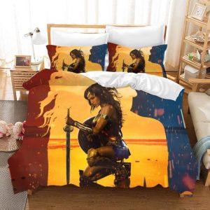 Wonder Woman Dope Red Yellow Blue Background Art Bedding Set