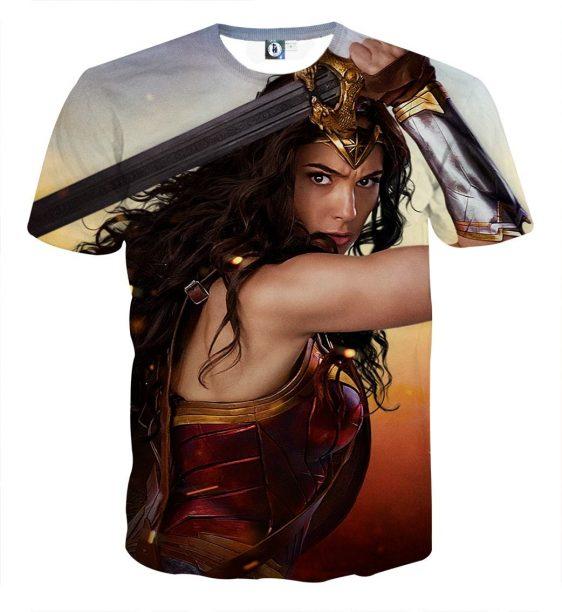 Wonder Woman Beautiful Gal Gadot Realistic 3D Print T-shirt