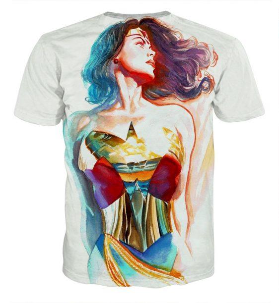 Wonder Woman Crayon Drawing Art Design White Cool T-shirt
