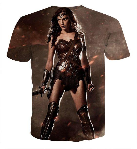 Wonder Woman Standing Brave Gal Gadot Holding Sword T-shirt