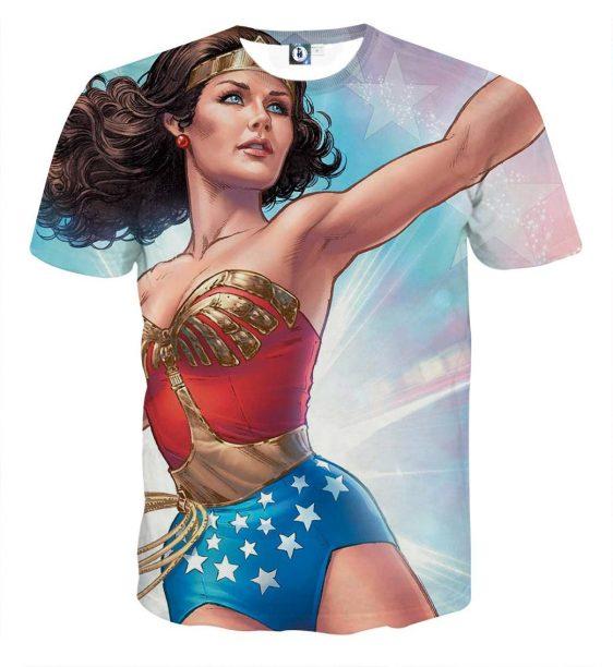 Wonder Woman Superhero Pastel Blue And Pink Star T-shirt