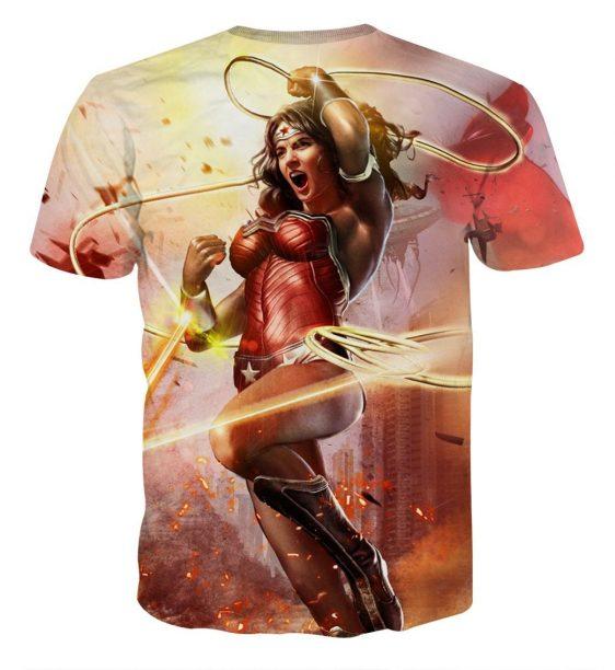 Wonder Woman Superhero Warner Bros Fighting Cool T-shirt
