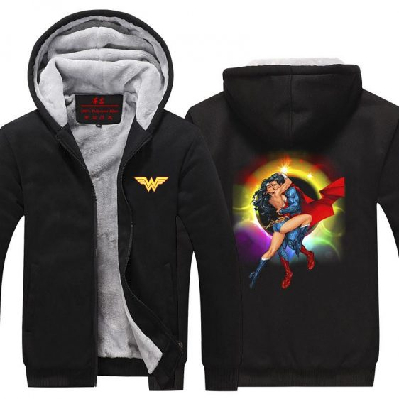 Wonder Woman Superman Love Hot Kiss Rainbow Hooded Jacket