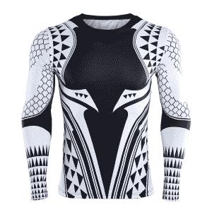 DC Aquaman Black Long Sleeves Cosplay Compression 3D T-Shirt