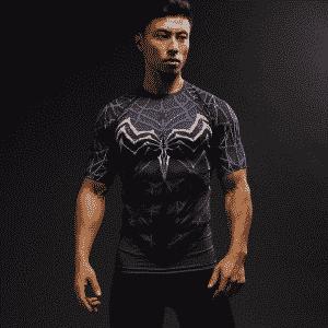Marvel Venom Suit Short Sleeves Cosplay Compression 3D Shirt